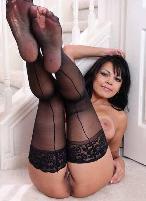 Beurette mature en collants